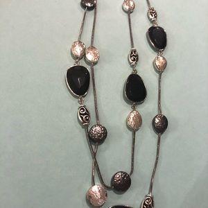 """Brighton 18"""" Necklace, Black and Silver Stones"""